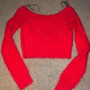 Red fuzzy crop sweater